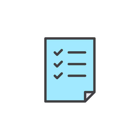 Check list filled outline icon, line vector sign, linear colorful pictogram isolated on white. Document form symbol,  illustration. Pixel perfect vector graphics Illustration