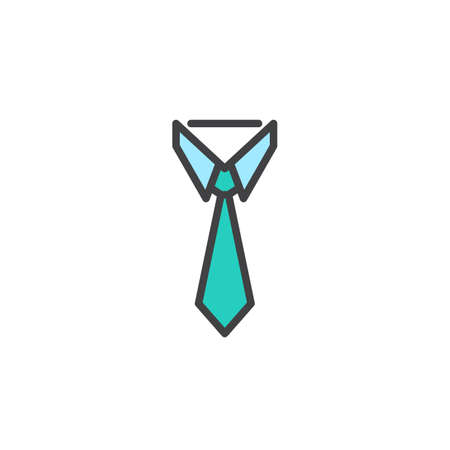 Businessman tie filled outline icon, line vector sign, linear colorful pictogram isolated on white. Necktie and neckcloth symbol, logo illustration. Pixel perfect vector graphics