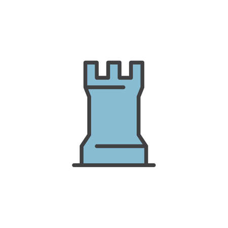 Chess game piece filled outline icon, line vector sign, linear colorful pictogram isolated on white. Rook chess figure symbol  illustration. Pixel perfect vector graphics.