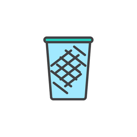 Trash can filled outline icon, line vector sign, linear colorful pictogram isolated on white. Recycle bin symbol, logo illustration. Pixel perfect vector graphics Illustration