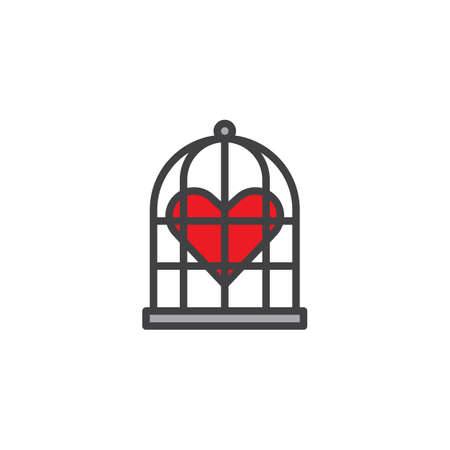 Heart in the bird cage filled outline icon, line vector sign, linear colorful pictogram isolated on white. Love symbol, logo illustration. Pixel perfect vector graphics