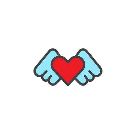 Heart Angel Wings Filled Outline Icon Line Vector Sign Linear