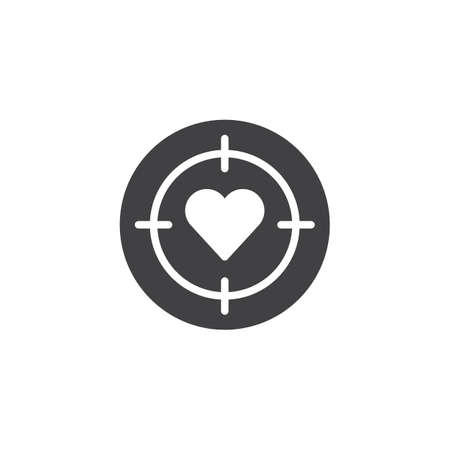 Heart Target Icon Vector Filled Flat Sign Solid Pictogram Isolated