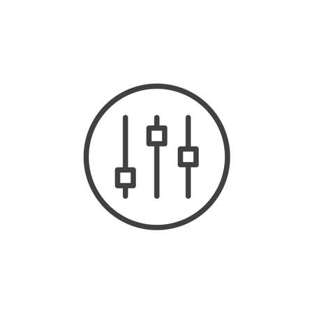 Mixer, music equalizer line icon, outline vector sign, linear style pictogram isolated on white. Adjustment levels symbol illustration.