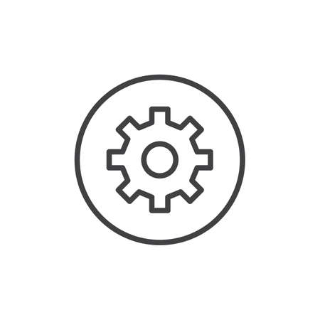 Setting circular button line icon, outline vector sign, linear style pictogram isolated on white. Gear, settings circular symbol illustration.
