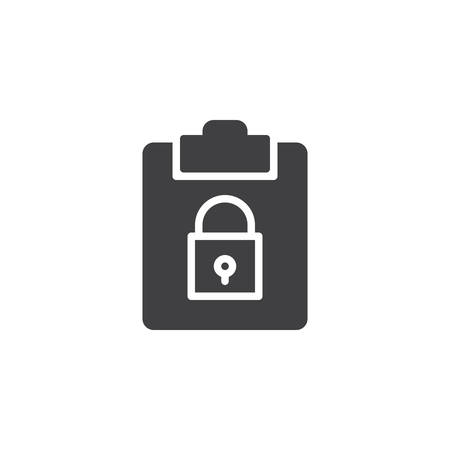 File security icon vector, filled flat sign, solid pictogram isolated on white. Clipboard with padlock symbol, illustration. Çizim