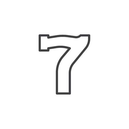 Slot machine lucky seven line icon, outline vector sign, linear style pictogram isolated on white. Number seven symbol, logo illustration. Editable stroke