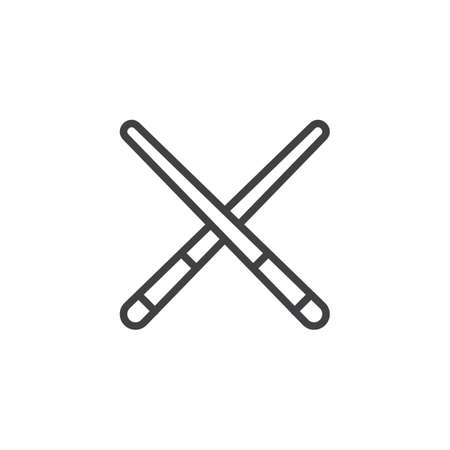 Pool cue line icon, outline vector sign, linear style pictogram isolated on white. Billiard cue symbol, logo illustration. Editable stroke