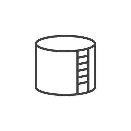 Storage tank line icon, outline vector sign, linear style pictogram isolated on white. Oil terminal symbol, logo illustration. Editable stroke. 矢量图像