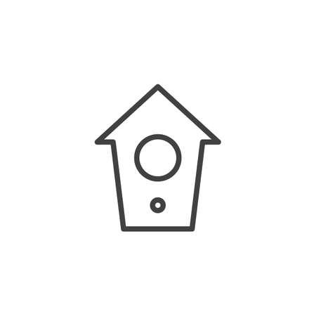 Bird house line icon, outline vector sign, linear style pictogram isolated on white. Symbol, logo illustration. Editable stroke 向量圖像