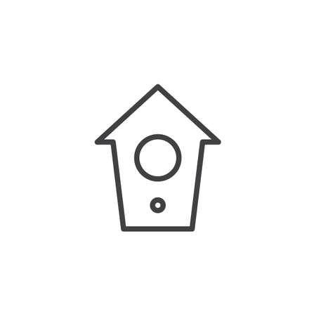 Bird house line icon, outline vector sign, linear style pictogram isolated on white. Symbol, logo illustration. Editable stroke Vettoriali