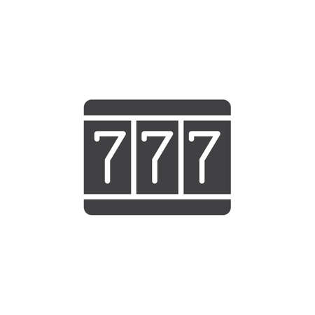 Fortune 777 icon vector, filled flat sign, solid pictogram isolated on white. Triple sevens symbol, logo illustration. Иллюстрация