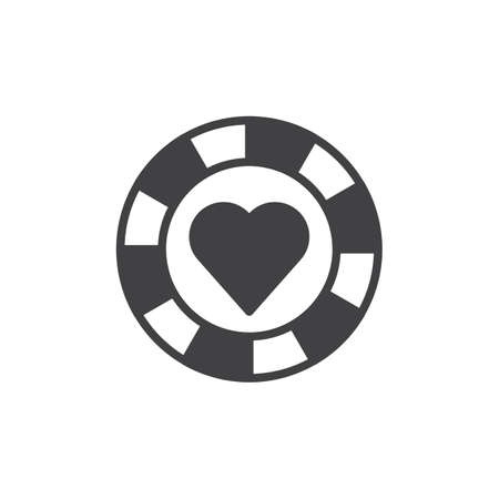 Pocker chip heart suit icon vector, filled flat sign, solid pictogram isolated on white. Casino money symbol, logo illustration.