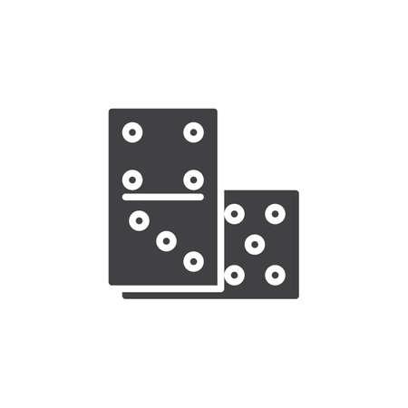 Domino pictogram vector, gevuld vlak teken, solide pictogram geïsoleerd op wit. Casino en gokken symbool, logo illustratie.