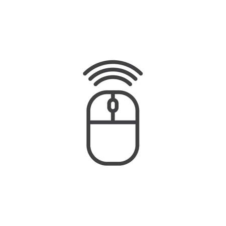 Wireless connection mouse line icon, outline vector sign, linear style pictogram isolated on white. Mouse click symbol, logo illustration. Editable stroke 向量圖像
