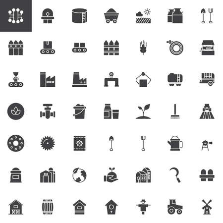 Industry and farming vector icons set, modern solid symbol collection, filled style pictogram pack. Stock Illustratie