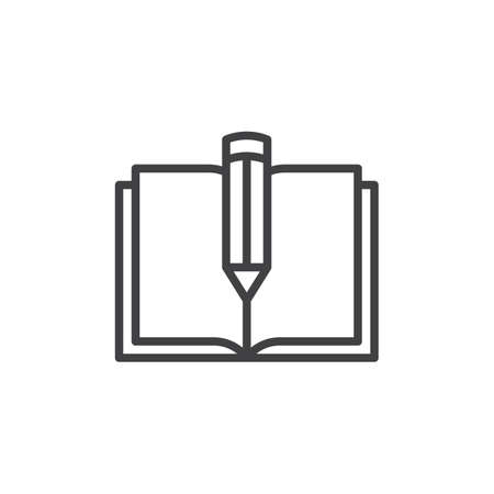 Text book and pen line icon, outline vector sign, linear style pictogram isolated on white. Notebook with pencil symbol, logo illustration. Editable stroke.