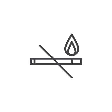 Cigarette and flame line icon, outline vector sign, linear style pictograph isolated on white. No smoking symbol illustration. Vector Illustration