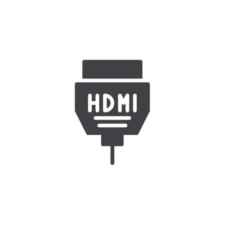 HDMI cable icon vector, filled flat sign, solid pictogram isolated on white. Symbol, logo illustration.