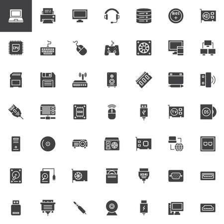 Computer components vector icons set, modern solid symbol collection, filled style pictogram pack.