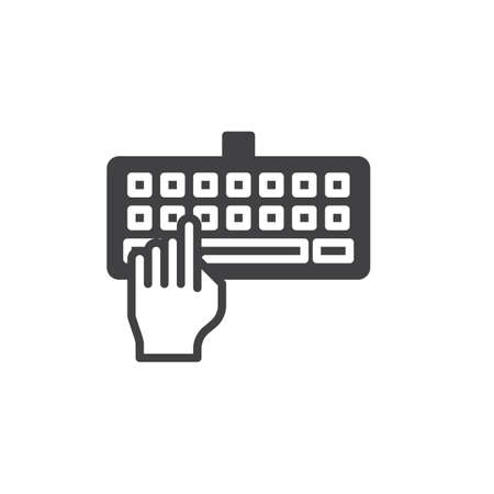 Hand Typing Keyboard Icon Vector Filled Flat Sign Solid Pictogram