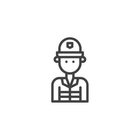 Feuerwehrmannlinie Ikone, Entwurfsvektorzeichen, lineares Artpiktogramm lokalisiert auf Weiß. Feuerwehrmannsymbol, Logoillustration. Bearbeitbarer Strich Standard-Bild - 94540288