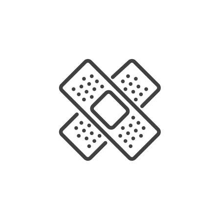 Medical plaster line icon, outline vector sign, linear style pictogram isolated on white. Adhesive tape bandage symbol, logo illustration. Editable stroke