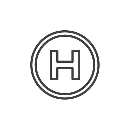 Helipad line icon, outline vector sign, linear style pictogram isolated on white. Helicopter landing pad symbol, logo illustration. Editable stroke  イラスト・ベクター素材