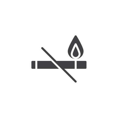 Cigarette and flame icon vector, filled flat sign, solid pictogram isolated on white. No smoking symbol, icon illustration.