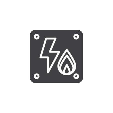 Elektrisch ontvlambaar pictogram vector, gevuld vlak teken, solide pictogram geïsoleerd op wit. Symbool, logo illustratie. Stock Illustratie