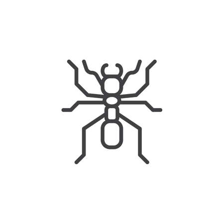 Ant worker line icon, outline vector sign, linear style pictogram isolated on white. Pismire symbol, icon  illustration. Editable stroke. Stock Illustratie