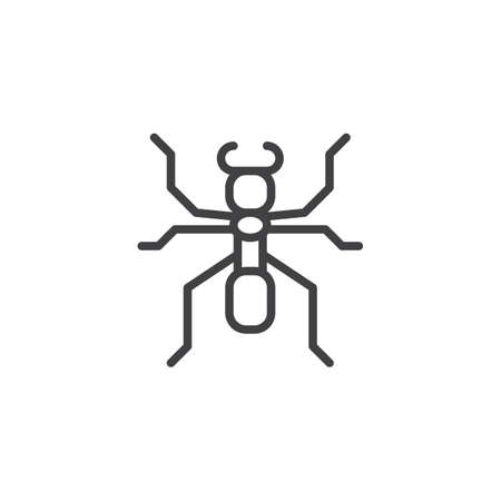 Ant soldier line icon, outline vector sign, linear style pictogram isolated on white. Emmet symbol, logo illustration. Editable stroke
