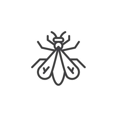 Fly insect line icon, outline vector sign, linear style pictogram isolated on white. Symbol, logo illustration. Editable stroke Illustration