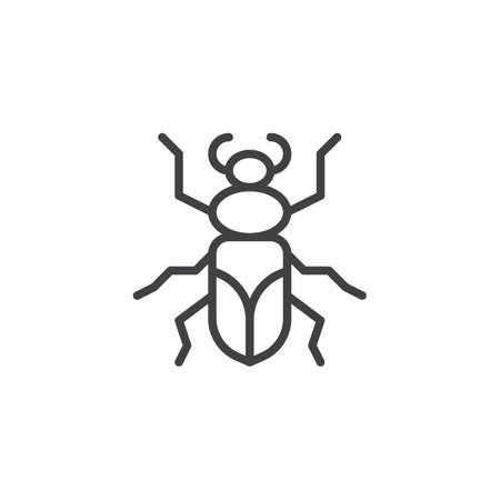 Ground bug insect line icon, outline vector sign, linear style pictogram isolated on white. Symbol, icon illustration. Editable stroke.