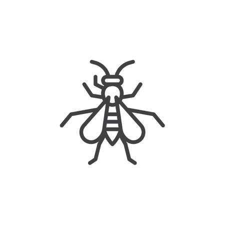 Wasp insect line icon, outline vector sign, linear style pictogram isolated on white. Hornet symbol, icon illustration. Editable stroke.