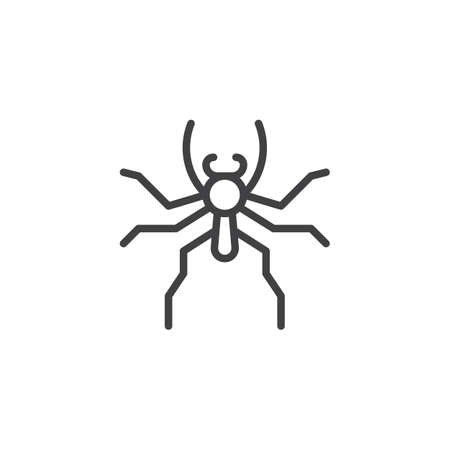 Jumping spider line icon, outline vector sign, linear style pictogram isolated on white. Symbol, logo illustration. Editable stroke Illustration
