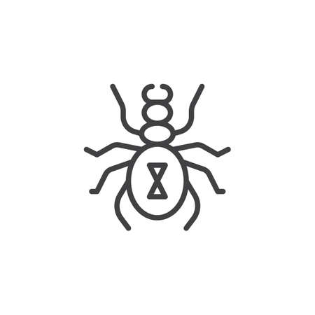 Harvest mite line icon, outline vector sign, linear style pictogram isolated on white. Tick symbol, logo illustration. Editable stroke