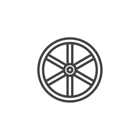 Westerse houten wiel lijn pictogram, overzichts vector teken, lineaire stijl pictogram geïsoleerd op wit. Symbool, logo illustratie. Bewerkbare lijn