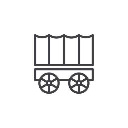 Horse carriage wagon line icon, outline vector sign, linear style pictogram isolated on white. Symbol, logo illustration. Editable stroke Ilustracja
