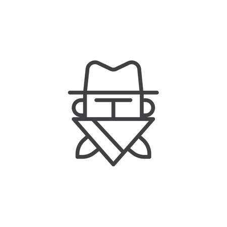 Robber in mask line icon, outline vector sign, linear style pictogram isolated on white. Cowboy bandit in hat symbol, logo illustration. Editable stroke