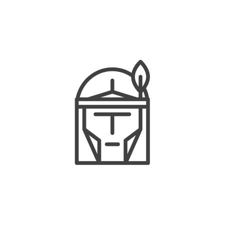 Indian head line icon, outline vector sign, linear style pictogram isolated on white. American Indian face symbol, logo illustration. Editable stroke