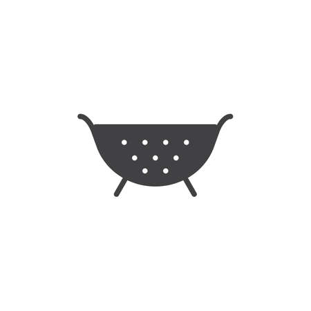 Kitchen strainer icon vector, filled flat sign, solid pictogram isolated on white. Colander symbol, icon illustration.