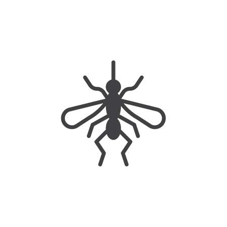 Mosquito icon vector, filled flat sign, solid pictogram isolated on white. Gnat symbol, logo illustration. Illustration