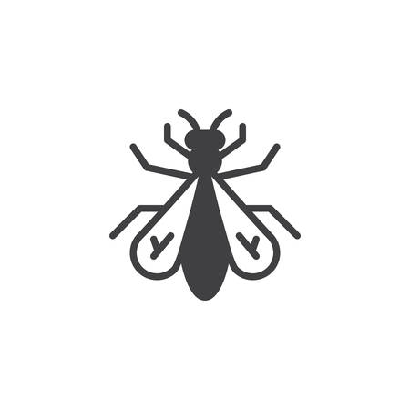 Fly insect icon vector, filled flat sign, solid pictogram isolated on white. Symbol, logo illustration.
