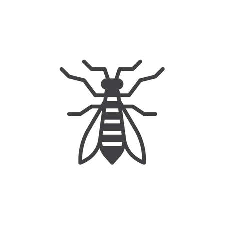 Wasp insect icon vector, filled flat sign, solid pictogram isolated on white. Bee symbol, logo illustration.