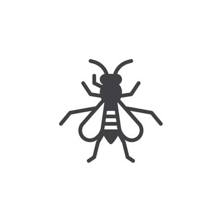 Wasp insect icon vector, filled flat sign, solid pictogram isolated on white. Hornet symbol, logo illustration.
