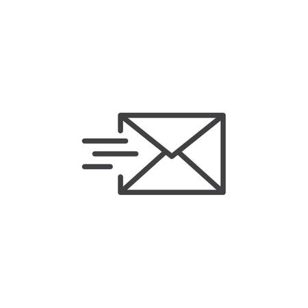 Mail send line icon, outline vector sign, linear style pictogram isolated on white. Send message symbol, icon illustration editable stroke. 向量圖像