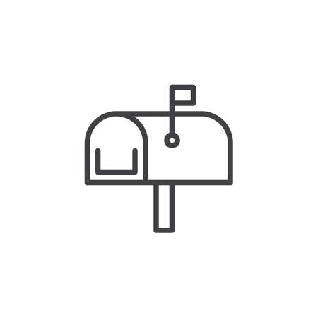 Mailbox line icon, outline vector sign, linear style pictogram isolated on white. Mail box symbol, icon illustration editable stroke. 矢量图像
