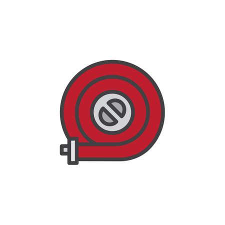 Brandslang haspel gevuld overzicht pictogram, lijn vector teken, lineaire kleurrijke pictogram geïsoleerd op wit. Symbool, logo illustratie. Pixel perfecte vectorafbeeldingen Stockfoto - 95049621