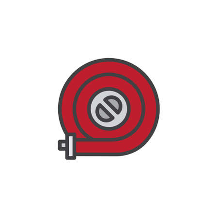 Fire hose reel filled outline icon, line vector sign, linear colorful pictogram isolated on white. Symbol, logo illustration. Pixel perfect vector graphics
